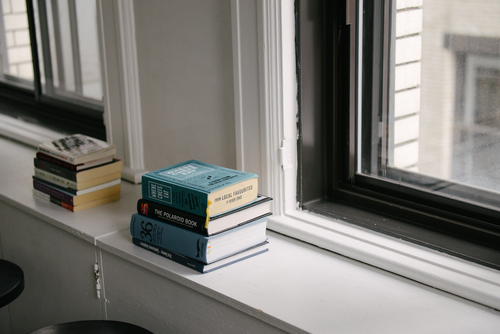 Books on a window