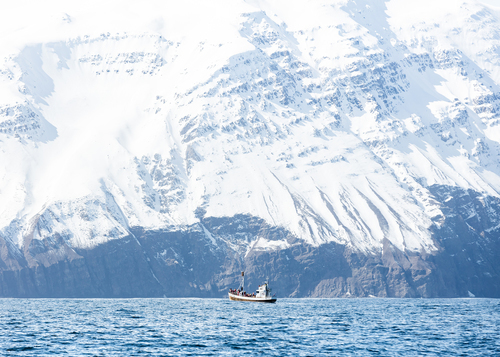 Breathtaking snow mountain with boat in sea