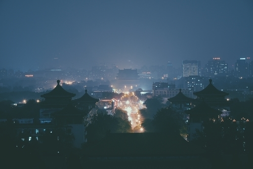 Chinese town night view