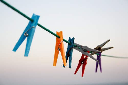 Clothespins in different colors
