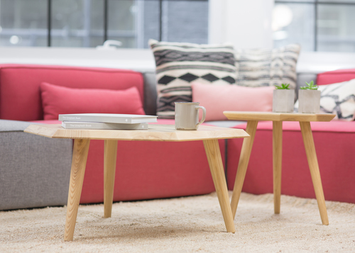 Coffee tables in front of a comfy sofa