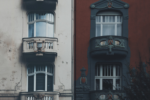 Differently colored facades of buildings