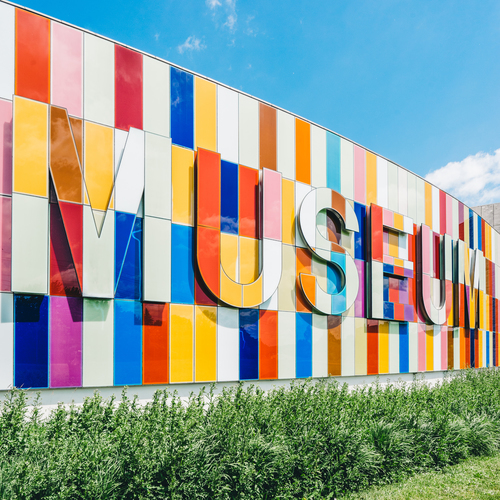 Colorful museum sign