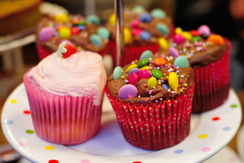 Colorful candy cupcakes