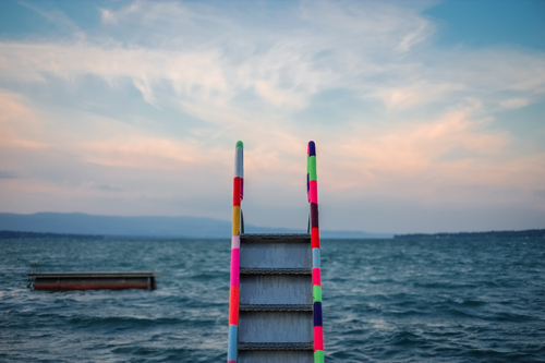 Colorful ladder to ocean