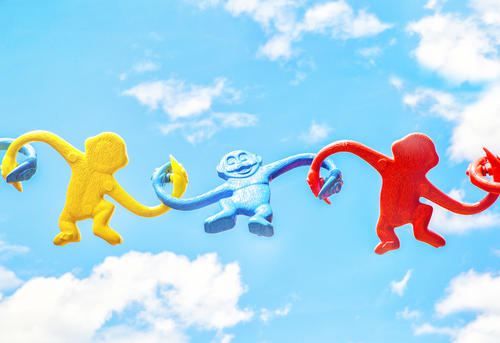 Colorful plastic monkeys