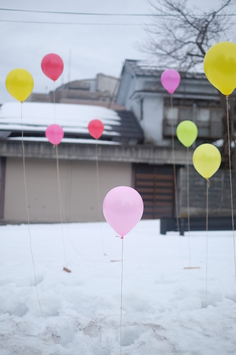 Balloons in a snow