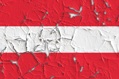 Austrian flag with peeled off pieces