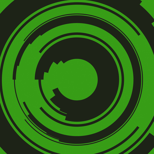 Black circles on green background