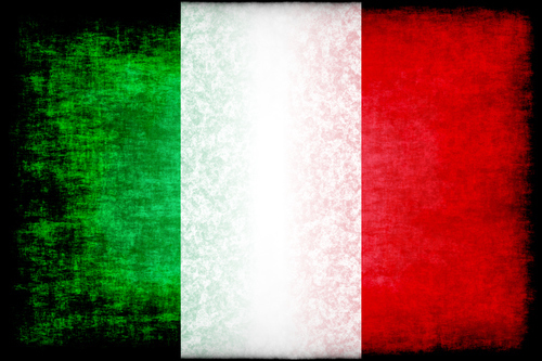 Italian flag with black stains