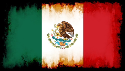 Mexican flag inside black frame