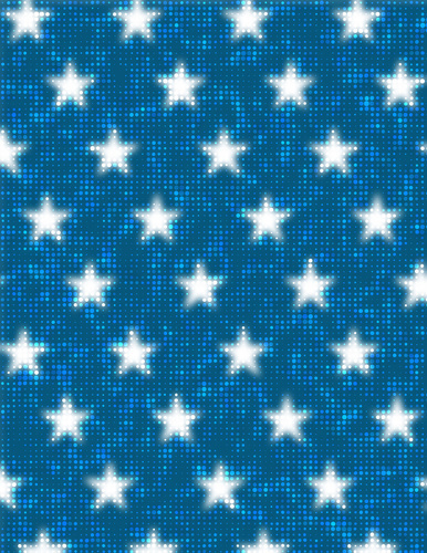 Glowing stars on blue background