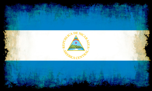 Flag of Nicaragua with burned edges