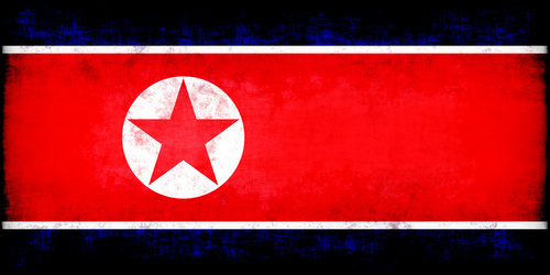 North Korea flag with grunge texture
