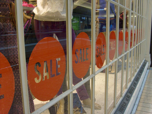 Displayed sale signs