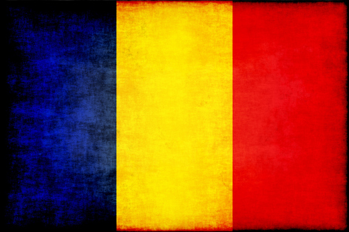 Romanian flag grunge effect