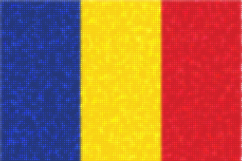 Romanian flag with bright dots