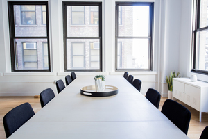 Long white conference table