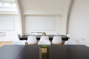 Black table with white chairs