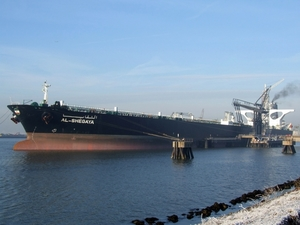 Crude oil tanker docked at port