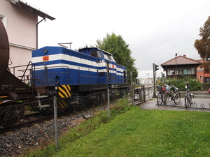 Blue diesel locomotive