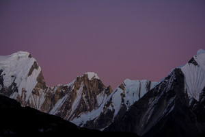 Mountains and purple sky