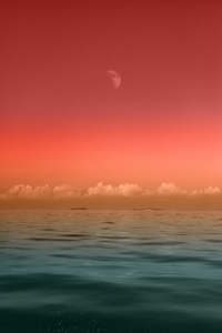 Red sky over sea