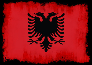 Albanian flag inside black frame