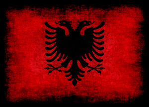 Albanian flag with dark overlay