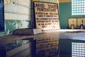Old sign in Alcatraz prison