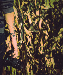 Tattooed hand holding camera