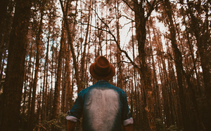 Man in a hat in the forest