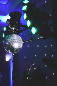 Disco ball and reflectors with DJ