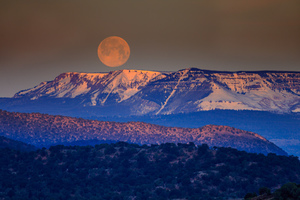 Full moon over mountain