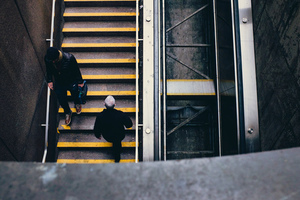 People on subway stairs