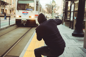 Taking a photo of train