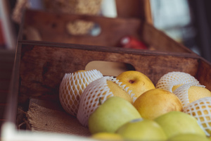 Fruit in wooden boxes