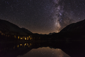 Starry night sky over mountains and water