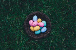 Pastel eggs in basket