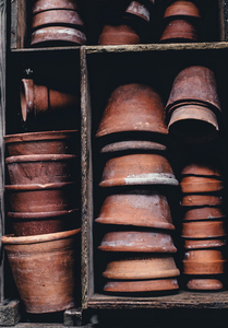 Pots in cupboard