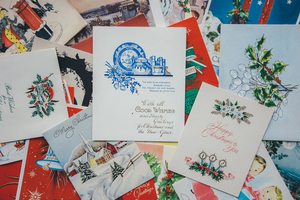Pile of festive postcards