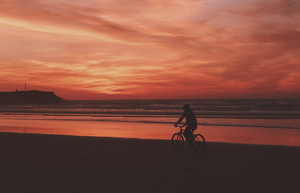 Cycling along the beach
