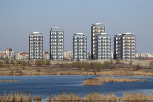 River and skyscrapers