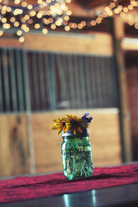 Jar filled with flowers