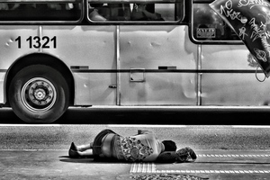 Person laying on the street