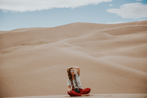 Lady in desert