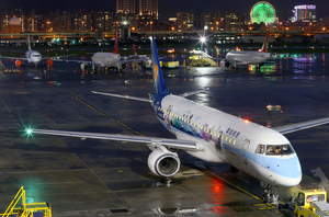 Passenger airplanes at airport at night