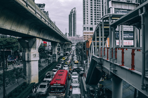 Crowded city of Bangkok, Thailand