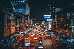 Crowded traffic in Bangkok, Thailand