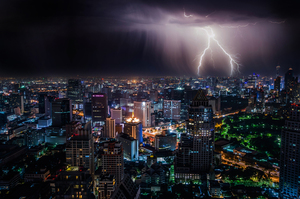 Lightning above Bangkok, Thailand